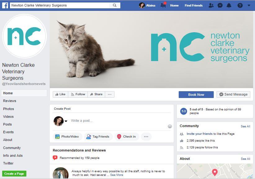 Newton Clarke Vets Facebook marketing