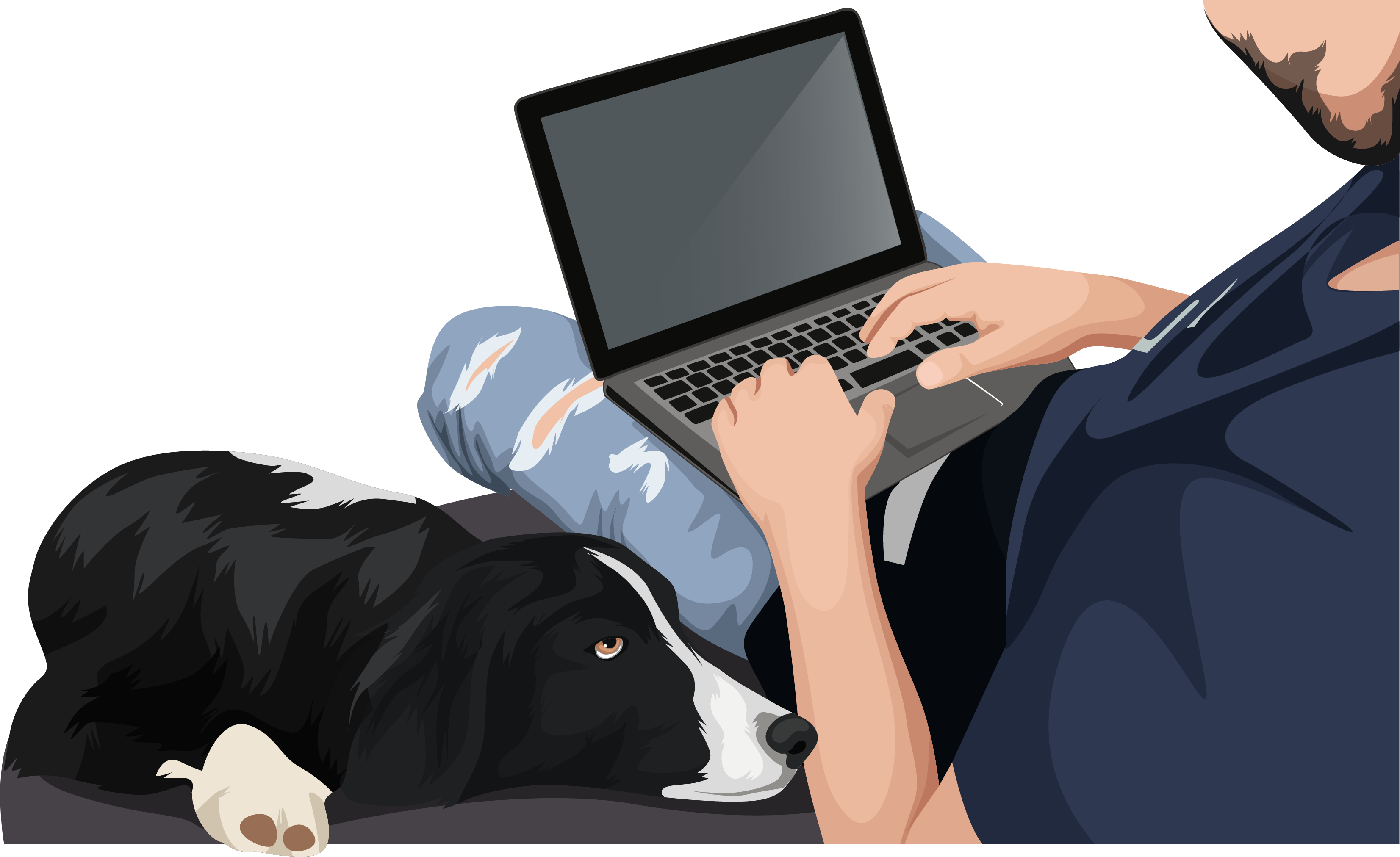 man on laptop with collie