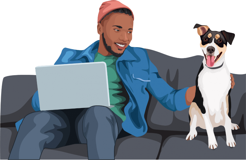 Man with laptop and dog